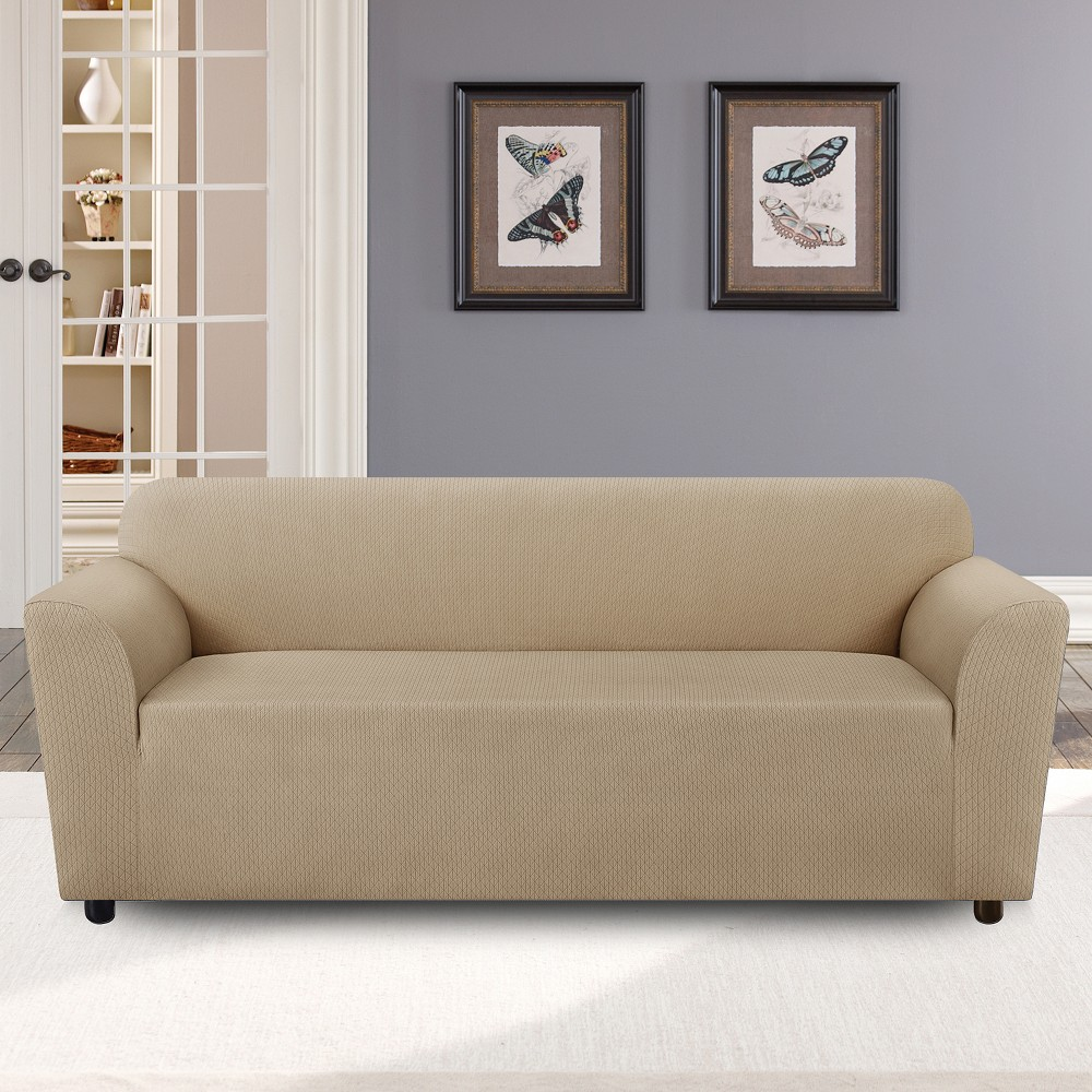 """Wine 5/% 72/"""" to 88/"""" Sure Fit Stretch Triangle Sofa Slipcover 95/% Polyester"""